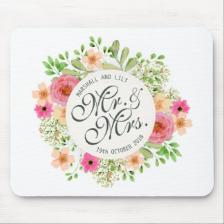 Lovely Mr. and Mrs. Floral Wedding   Mousepad