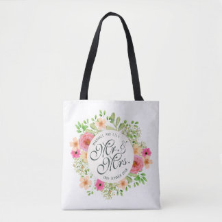 Lovely Mr. and Mrs. Floral Wedding Tote Bag