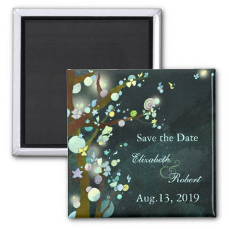 Lovely Night Elven Forest Wedding Save the Date Square Magnet