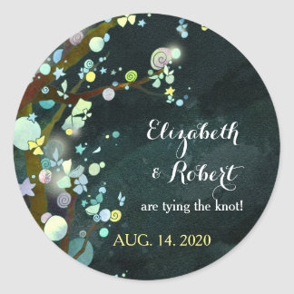 Lovely Night Evening Wedding Save the Date Classic Round Sticker
