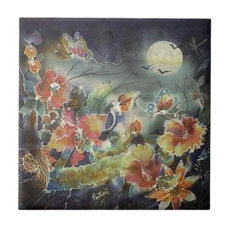 Lovely Night Garden Painting Tile