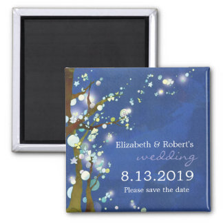 Lovely Night in Blue Winter Wedding Save the Date Square Magnet