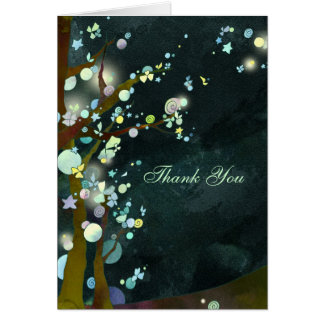 Lovely Night Rustic Dark Green Wedding Thank You Card