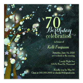 Lovely Night Sassy 70th Birthday Party Card
