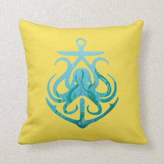 Lovely Octopus with Anchor Throw Pillow