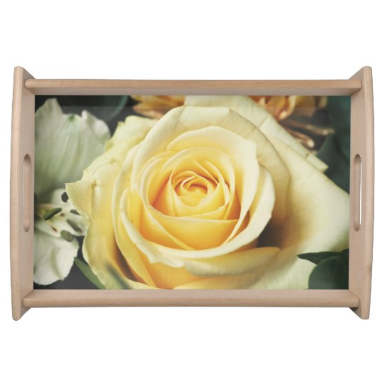 Lovely Off White Cream Rose Serving Tray