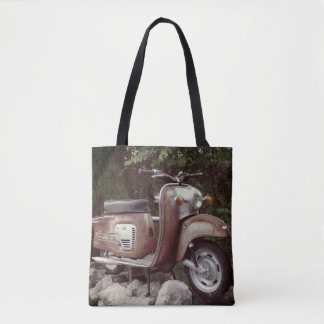 Lovely Old Scooter Custom All-Over-Print Tote Bag