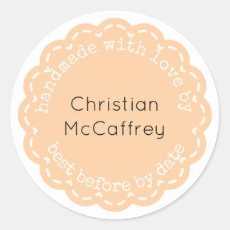 Lovely Orange Rosette Handmade Custom Label