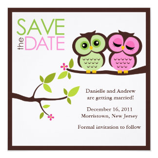 "Lovely Owls Save the Date Announcements 5.25"" Square Invitation Card"