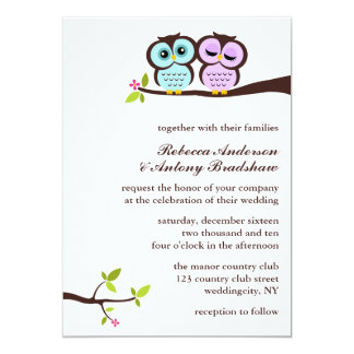 "Lovely Owls Wedding 5"" X 7"" Invitation Card"