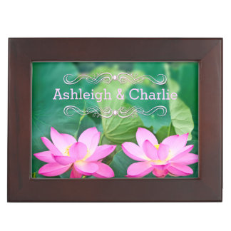 Lovely Pair Pink Lotus Couple Pond Green Leaves Memory Boxes