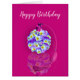 Lovely Pansy Atomizer Birthday Party Card
