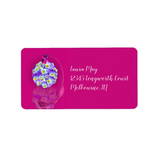 Lovely Pansy Atomizer Birthday Party Label