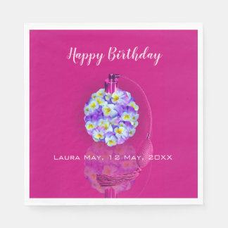 Lovely Pansy Atomizer  Birthday Party Paper Napkins