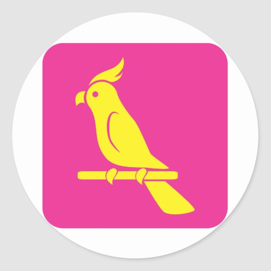 Lovely Parrot Icon Classic Round Sticker