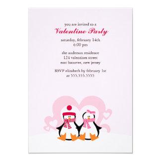 Lovely Penguin Couple Valentines Day Party Custom Invitation