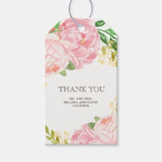 Lovely Peonies Wedding Favour Gift Hang Tag