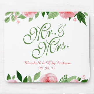 Lovely Personalized Floral Wedding   Mousepad