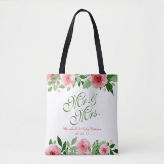 Lovely Personalized Floral Wedding Tote Bag