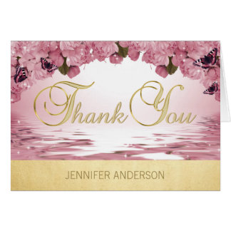 Lovely Personalized Pink Gold Butterfly Thank You Card