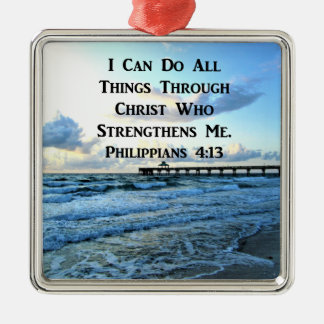 LOVELY PHILIPPIANS 4:13 BIBLE VERSE Silver-Colored SQUARE ORNAMENT