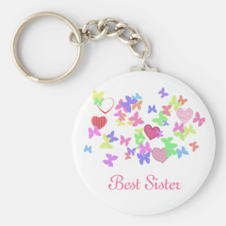 Lovely pink butterflies and hearts best sister keychains