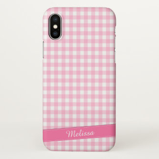 Lovely Pink Checkered Personalized | iPhone X Case