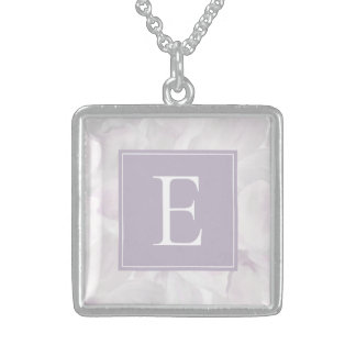 Lovely Pink Cherry Blossoms on Stripes with Name Sterling Silver Necklace