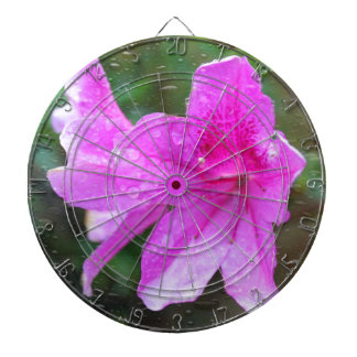 Lovely pink garden flowers with rain drops. floral dart boards