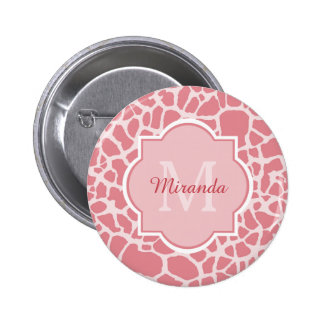 Lovely Pink Giraffe Pattern With Monogram and Name 2 Inch Round Button