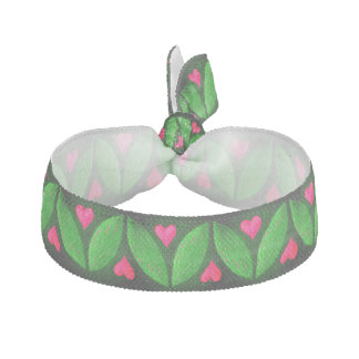 Lovely pink hearts and green leaves pattern hair tie