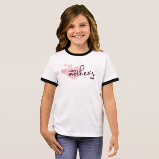 Lovely Pink Hearts Happy Mother's Day Ringer Shirt