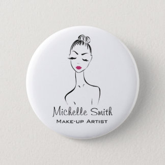 Lovely pink lips make up artist  branding 2 inch round button