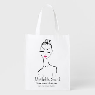 Lovely pink lips make up artist  branding reusable grocery bag
