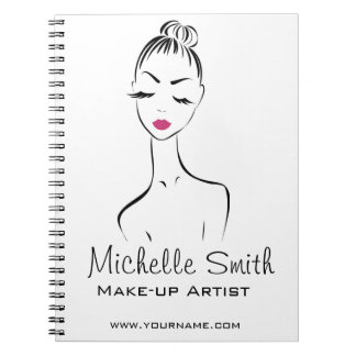 Lovely pink lips make up artist  branding spiral note book