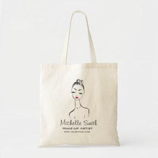 Lovely pink lips make up artist  branding tote bag
