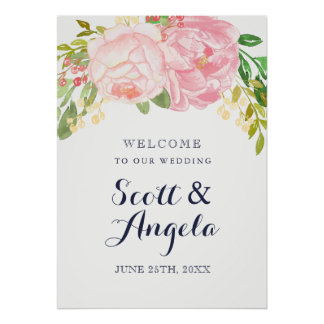 Lovely Pink Peony Welcome Sign (20x28) Poster