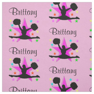 LOVELY PINK PERSONALIZED CHEERLEADER FABRIC