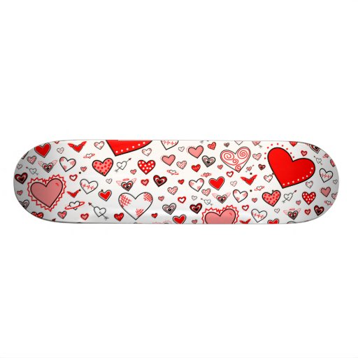 Lovely Pink & Red Heart Doodles Skate Boards