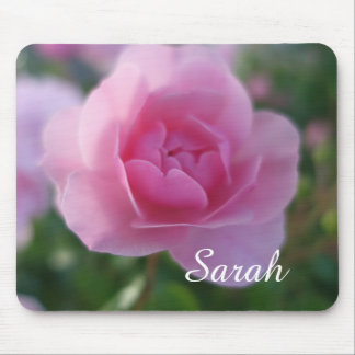 lovely pink rose flower, add your name mouse pad