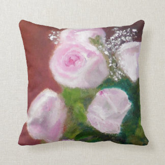 Lovely Pink Roses Throw Pillow