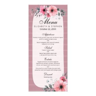 Lovely Pink Vintage Watercolor Floral Wedding Menu