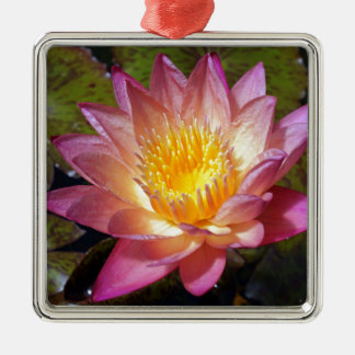 Lovely Pink Water Lily Metal Ornament