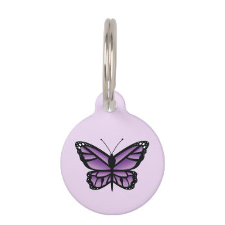 Lovely Purple Butterfly Pet Name Tag