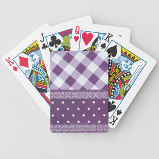 Lovely Purple checkered Damask Seamless Pattern Bicycle Playing Cards