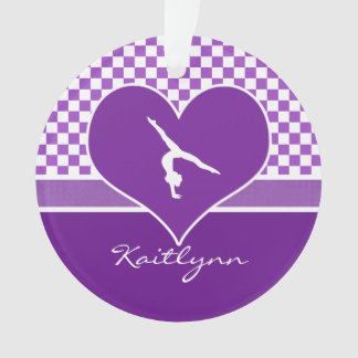 Lovely Purple Checkered Gymnastics with Monogram Ornament