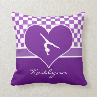 Lovely Purple Checkered Gymnastics with Monogram Throw Pillow