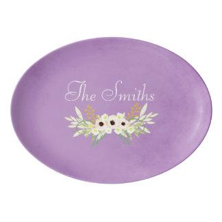 Lovely Purple Floral  parchment Porcelain Serving Platter
