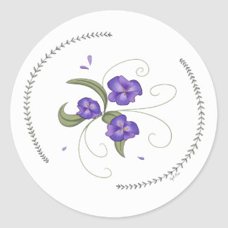 Lovely Purple Pansies Stickers