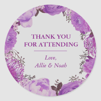 Lovely Purple Spring Floral Thank You Classic Round Sticker